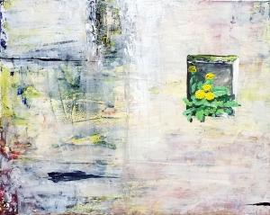 "Dandelion. Acrylic on 20x16"" canvas"