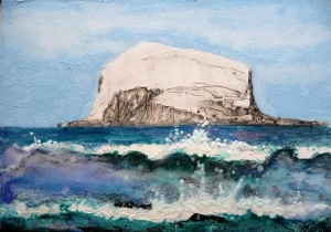 "Bass Rock. Acrylic and ink on 7x5"" wood"