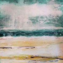 """Green Sea. Acrylic on 10x10"""" wood"""