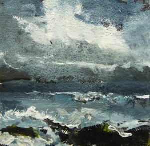 "Stormy Sea. Acrylic, ink and salt on 5x5"" wood"