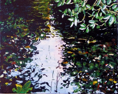 "Sold. 'Still Pond'. Acrylic on 20x16"" canvas"