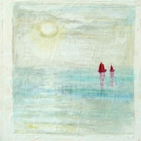 "Red Boats White Sun. Acrylic on 10x10"" wood"