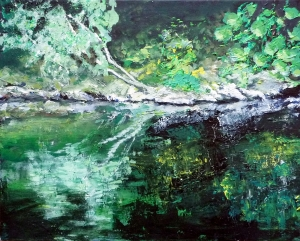 """Sold. 'River Esk'. Acrylic on 20x15"""" canvas. Rose Strang 2013"""
