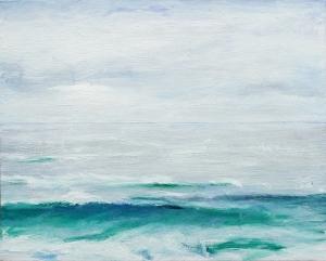"""Sandwood Bay (Cape Wrath). Acrylic on 20x16"""" canvas"""