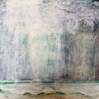 "Rain Shower. Acrylic and ink on 10x10"" wood"