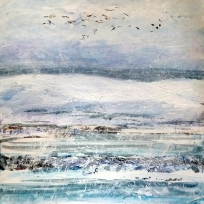 """Snowgeese 2. Acrylic and ink on 10x10"""" wood"""