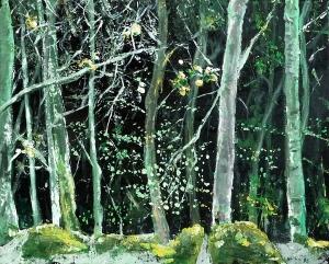 "Spring Sycamore. Acrylic on 20x16"" canvas"