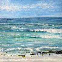 "Summer Sea. Acrylic and ink on 10x10"" wood"