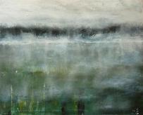 "Sold. 'Virga'. Acrylic on 20x16"" canvas"