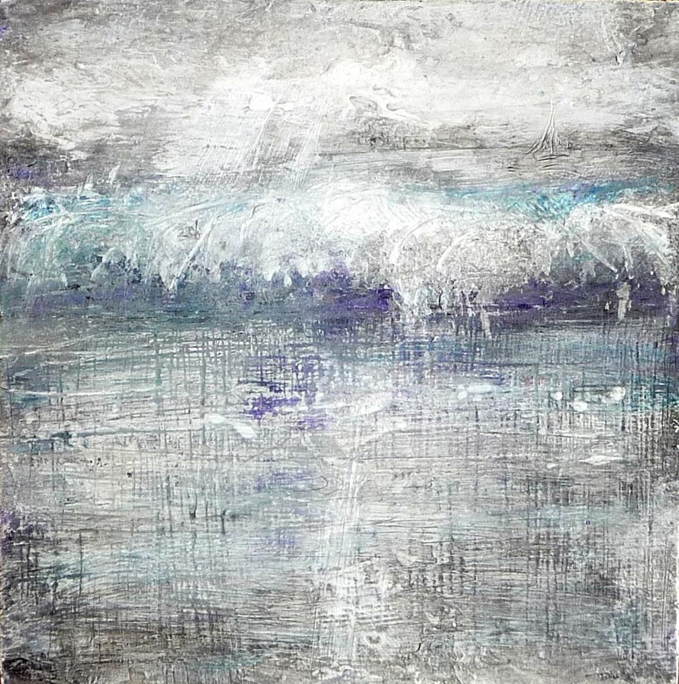 """'Wave. North Berwick'. Mixed media on 5x5"""" wood. Rose Strang 2012"""