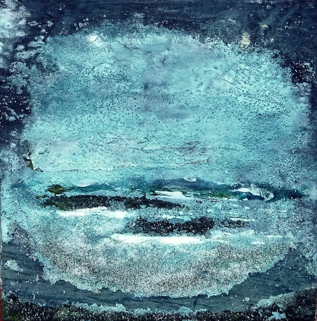"Eigg Series. No 8. Acrylic, ink, salt and sand on 5x5"" wood"