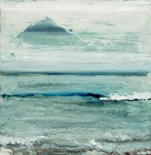 "Eigg Series. No 15. Acrylic and ink on 5x5"" wood"