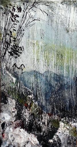 """North (1). Mixed media on 11.5x6"""" wood panel. Rose Strang 2015"""