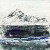 "Eigg Series No. 41. Ink, acrylic and sand on 5x5"" wood"