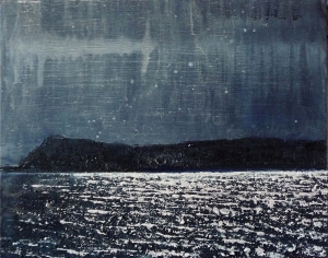 "'Moonlight on Eigg'. Acrylic on 20x16"" canvas"