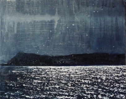 "Sold. 'Moonlight on Eigg'. Acrylic on 20x16"" canvas. Rose Strang 2014"