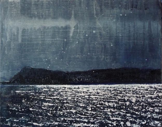 "'Moonlight on Eigg'. Acrylic on 20x16"" canvas"