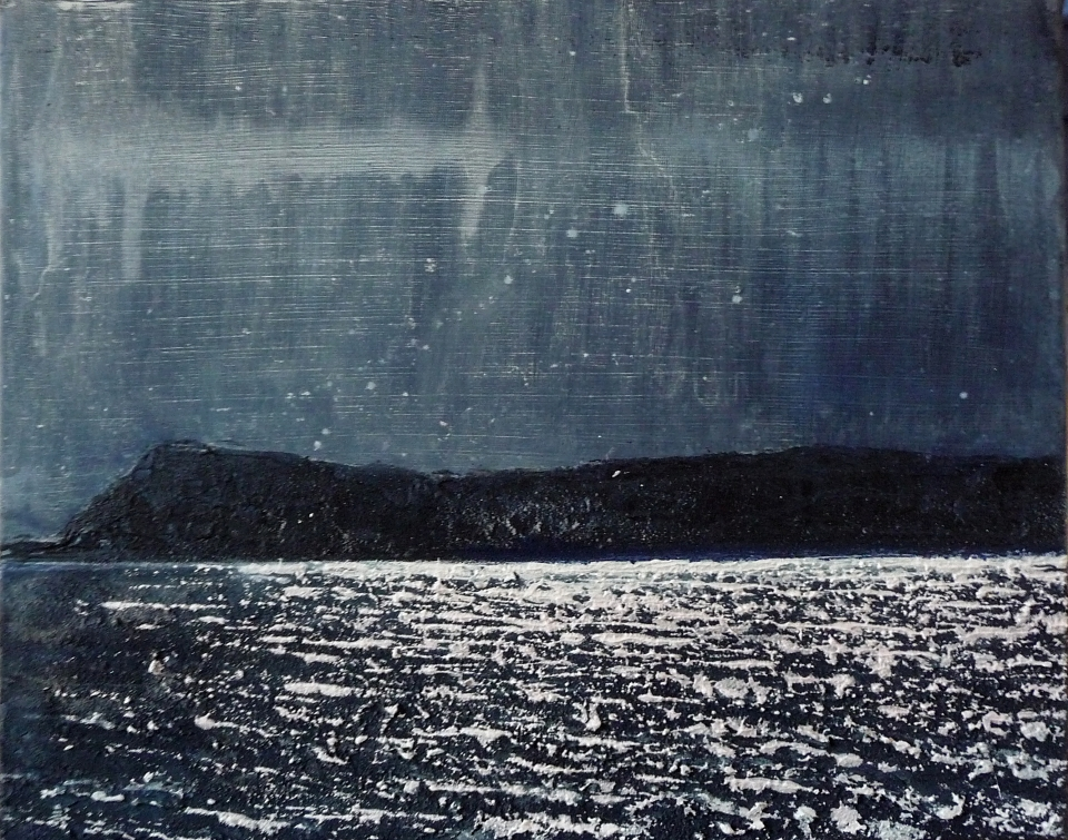 "Sold. 'Moonlight on Eigg'. Acrylic on 20x16"" canvas. Rose Strang 2014"