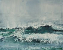 "Sold. 'Wave, Singing Sands Bay'. Acrylic on 20x16"" canvas"