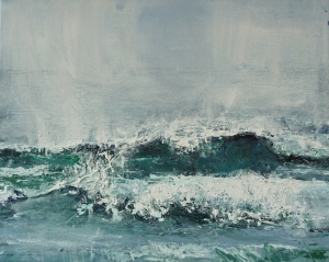 "'Wave, Singing Sands Bay'. Acrylic on 20x16"" canvas"