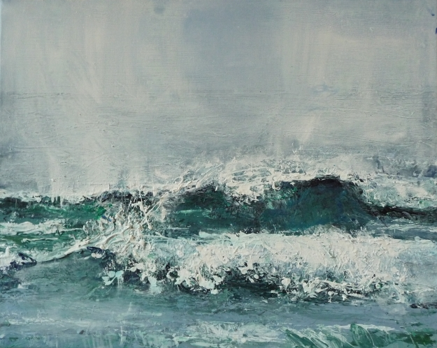 "Sold. 'Wave, Singing Sands Bay'. Acrylic on 20x16"" canvas. Rose Strang 2014"