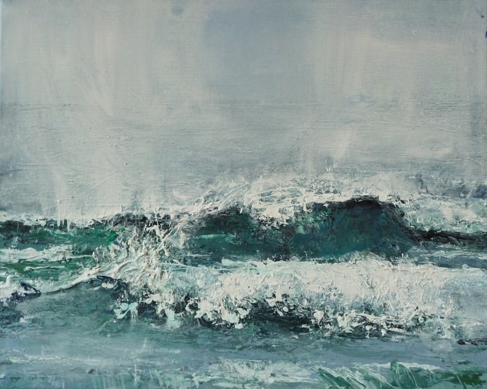 """Sold. 'Wave, Singing Sands Bay'. Acrylic on 20x16"""" canvas. Rose Strang 2014"""