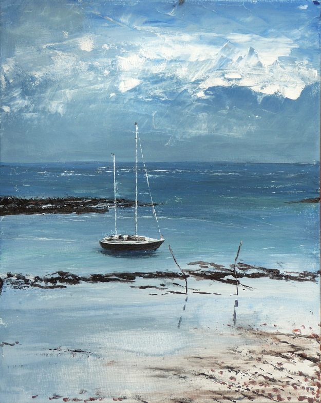 "'Boat in Pier Harbour 1'. Acrylic on 20x16"" canvas"