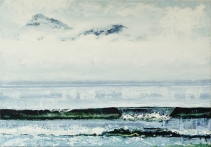"Sold. 'Mountains of Rum from Laig Bay'. Acrylic on 40x30"" canvas"