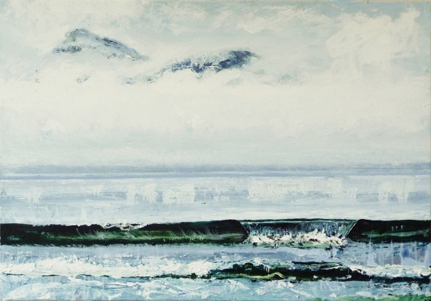"'Mountains of Rum from Laig Bay'. Acrylic on 40x30"" canvas"