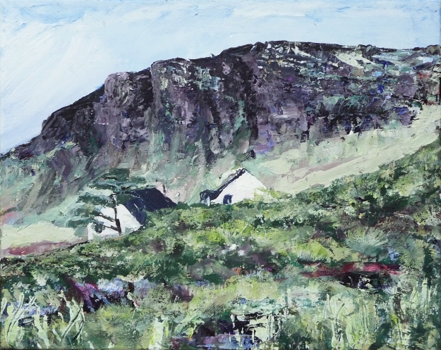 "'Cliffs of Cleadale 2'. Acrylic on 20x16"" canvas"