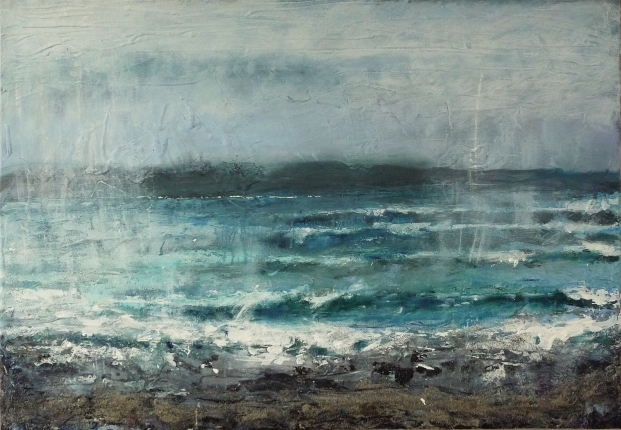 "Sold. 'Waves in the Rain, Singing Sands Bay'. Acrylic and ink on 40x30"" canvas"