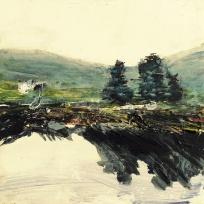 "Sold . 'Harris (Sea Loch 2)' Mixed media on 10x10"" wood"