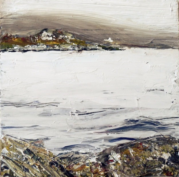 "Sold. 'Harris (Sea Loch 1)' Mixed media on 10x10"" wood. Rose Strang 2016"