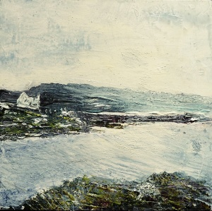 "'Harris (Sea Loch 3)' Mixed media on 10x10"" wood"