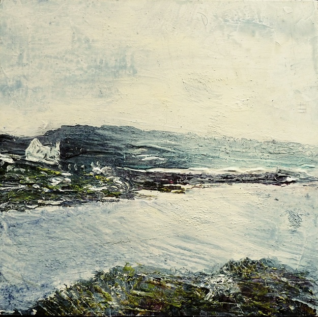 "Sold. 'Harris (Sea Loch 3)' Mixed media on 10x10"" wood. Rose Strang 2016"