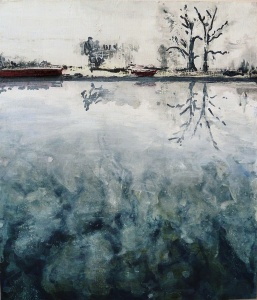 """Sold. 'Canalscapes 3'. Acrylic on 14x11"""" wood panel. Rose Strang 2017"""