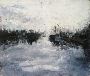 "'Canalscapes 2'. Acrylic on 14x11"" wood panel"