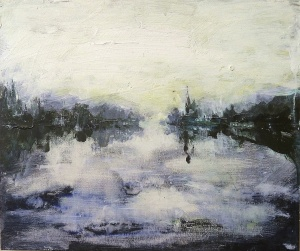 """Sold. 'Canalscapes 1'. Acrylic on 14x11"""" wood panel . Rose Strang 2017"""