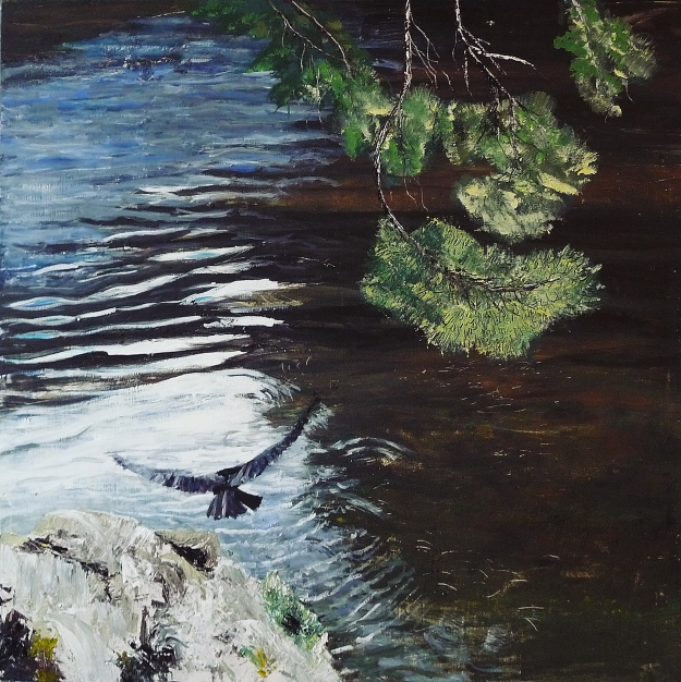 "'Hawk, River Tweed 3'. Mixed media on 40x40"" wood panel"