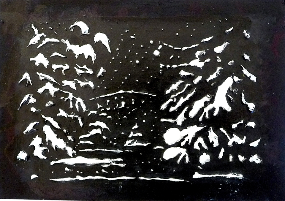 """'Bridge in Winter, Canonhill Park, Birmingham'. Acrylic and ink on 7x5"""" card. Rose Strang 2013"""