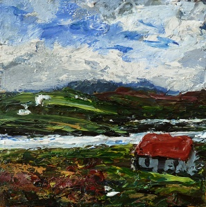 "'Harris (Red Roof 2)'. Mixed media on 5x5"" wood"