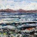 "Sold. 'Harris (Shore)'. Mixed media on 5x5"" wood. Rose Stranfg 2016"