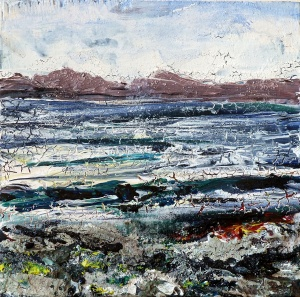 "'Harris (Shore)'. Mixed media on 5x5"" wood"