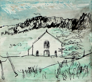 "'September  2014 Eigg Series. No. 1' Ink and varnish on 5x5"" wood"
