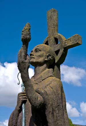 Statue of St Aidan at Lindisfarne Priory