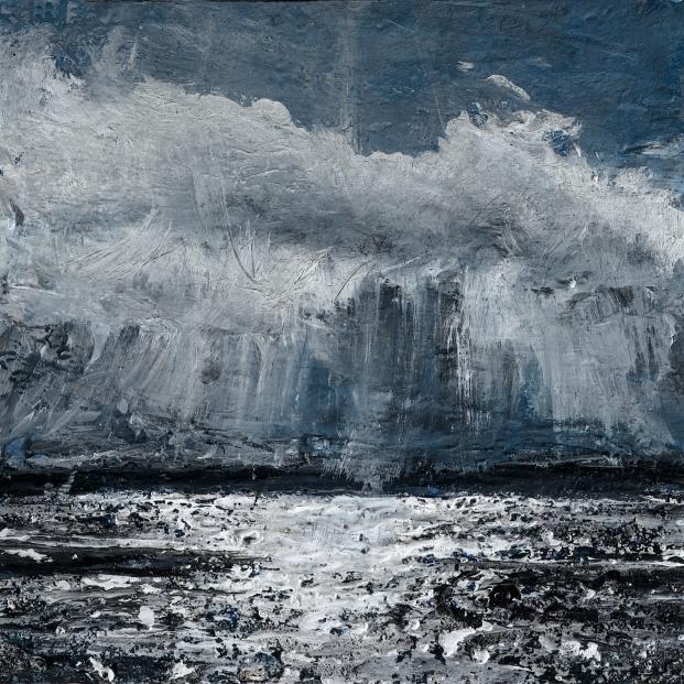 "Sold. 'Lindisfarne Series No. 2'. Acrylic on 5x5"" wood"