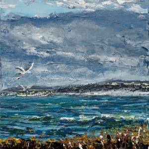 "'Lindisfarne Series No. 4'. Acrylic on 5x5"" wood"
