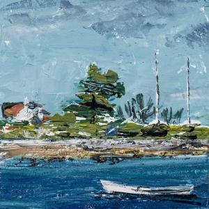 "'Lindisfarne Series No. 6'. Acrylic on 5x5"" wood"