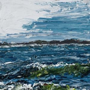 "'Lindisfarne Series No. 7'. Acrylic on 5x5"" wood"