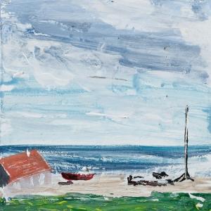 "'Lindisfarne Series No. 8'. Acrylic on 5x5"" wood"